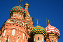 Saint Basil Cathedral and Vasilevsky Descent of Red Square in Moscow, Russia Royalty Free Stock Photos