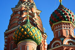 Saint Basil Cathedral and Vasilevsky Descent of Red Square in Moscow, Russia Royalty Free Stock Photography