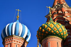 Saint Basil Cathedral and Vasilevsky Descent of Red Square in Moscow, Russia Royalty Free Stock Images