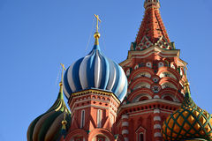 Saint Basil Cathedral and Vasilevsky Descent of Red Square in Moscow, Russia Stock Photos