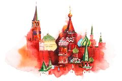 Saint Basil Cathedral Watercolor de place rouge de Moscou Russie illustration de vecteur