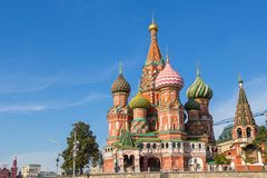 Saint Basil`s Cathedral as viewed from Red Square. Moscow, Russia. stock image
