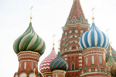 Saint Basil's Cathedral domes closeup, Red Square, Moscow Royalty Free Stock Photography