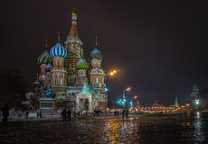 Saint Basil`s Cathedral. Evening view of the St. Basil`s Cathedral on Red Square Royalty Free Stock Photos