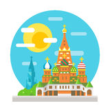 Saint Basil's cathedral flat design landmark Stock Images