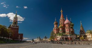 Saint Basil`s Cathedral and Kremlin in Moscow stock footage