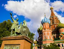 Saint Basil`s cathedral with monument to Minin and Pozharsky in foreground, Red Square, Moscow, Russia royalty free stock photos