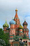 Saint Basil's Cathedral and monument to Minin and Pozharsky on R. Ed Square in spring in Moscow, Russia. Inscription on the monument: Citizen Minin and Prince Royalty Free Stock Image