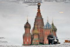 Saint Basil's Cathedral in Moscow, Russia. Abstract water reflection Royalty Free Stock Image