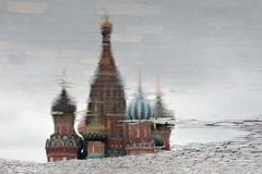 Saint Basil's Cathedral in Moscow, Russia. Abstract water reflection Stock Photos