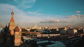 Saint Basil`s Cathedral, Moscow State University picturesque timelapse stock video footage