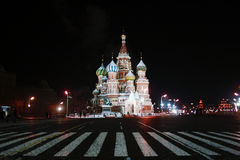 Saint Basil`s Cathedral at night. Saint Basil`s Cathedral, the Red Square in Moscow, Russia Royalty Free Stock Photography