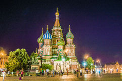 Saint Basil's Cathedral at night on the Red Square in Moscow, Russia. Royalty Free Stock Image