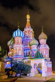 Saint Basil's Cathedral at night, Red Square in Moscow, Russia Stock Images