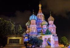 Saint Basil's Cathedral at night, Red Square in Moscow, Russia Royalty Free Stock Photo