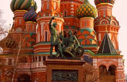 Saint Basil's Cathedral. On photo : Saint Basil's Cathedral on Red square in Moscow and monument to Minin and Pozharsky Stock Photos