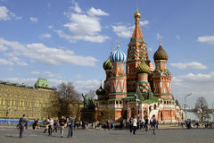Saint Basil's Cathedral on Red Square. Saint Basil's Cathedral, Red Square in Moscow before 9th May. Also known as the Cathedral of St. Vasily the Blessed Royalty Free Stock Image