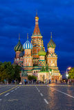 Saint Basil's Cathedral on the Red Square at dusk Stock Image