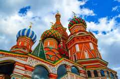 Saint Basil's Cathedral at Red Square in Moscow Bottom view Stock Photos
