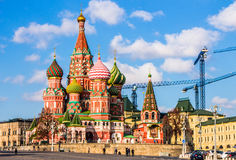 Saint Basil`s cathedral in red square, Moscow Stock Photos