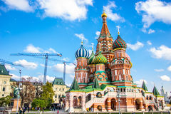 Saint Basil`s cathedral in red square, Moscow Royalty Free Stock Images