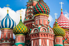 Saint Basil`s cathedral in red square, Moscow Stock Images