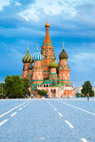 Saint Basil's Cathedral on the Red Square at sunset Stock Image