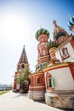 Saint Basil's Cathedral at sunny day in Moscow Stock Images