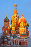 Saint Basil's cathedral at sunset. Moscow Royalty Free Stock Photos