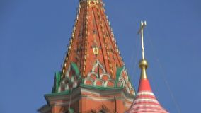Saint Basil's Cathedral tilt close up down stock footage