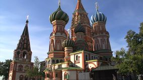 Saint Basil's Cathedral tilt up wide view stock video footage