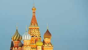 Saint Basil`s Cathedral. Timelapse of Saint Basil`s Cathedral at Dusk. Red Square, Moscow, Russia stock video