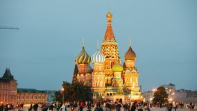Saint Basil`s Cathedral. Timelapse of Saint Basil`s Cathedral at Dusk. Red Square, Moscow, Russia stock footage