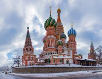 Saint Basil`s Cathedral VIII. A panorama picture of Saint Basil`s Cathedral taken from the street side royalty free stock photography