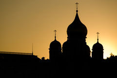 Saint Basil's Cathedrals Domes, Moscow. Saint Basil's Cathedrals Domes during sunset. Moscow, Russia royalty free stock photo