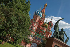 Saint Basil's colorful domes in Moscow summer stock photo