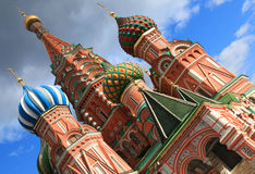 Saint Basil's onion shaped colorful domes in Moscow Royalty Free Stock Images
