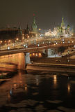 Saint basilic from kempinski. Center of moscou with kremlin and illuminated orthodox church Royalty Free Stock Images