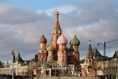 Saint Basils cathedral, GUM, Red Square in Moscow. Stock Photography
