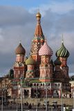 Saint Basils cathedral, GUM, Red Square in Moscow. Royalty Free Stock Image