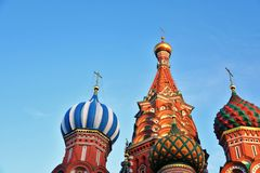 Saint Basils Cathedral in Moscow, cloudy sky background stock photography