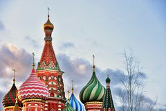 Saint Basils Cathedral in Moscow, cloudy sky background stock images