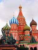 Saint Basils cathedral in Moscow. Monument to Minin and Pozharsky. Stock Photo