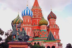 Saint Basils cathedral in Moscow. Monument to Minin and Pozharsky. Stock Image