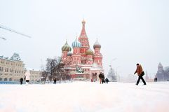 Saint Basils cathedral and Red Square in Moscow under the snow. Royalty Free Stock Images