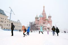 Saint Basils cathedral and Red Square in Moscow under the snow. Stock Photos