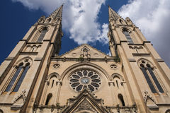 Saint-Baudile church. Two towers of Saint-Baudile church in Nimes, France Stock Photography