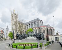 Saint Bavo Cathedral from J Van Eyck Square is a gothic cathedral in Ghent royalty free stock images