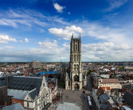 Saint Bavo Cathedral and Sint-Baafsplein, view from Belfry. Ghen Royalty Free Stock Photos