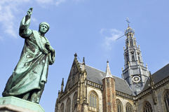 Saint Bavo church, statue inventor printing press, Haarlem Stock Image